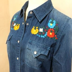 Embroidered Cowgirl Justice western denim blouse